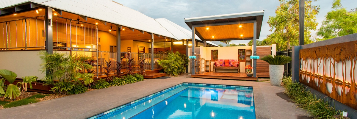 Swimming pool area in Broome home